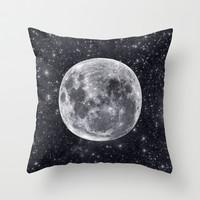 Hello Mr Moon. Luna and galaxy art. Throw Pillow by Prints Of Heart
