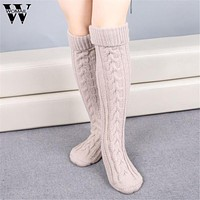 Winter Thick Women Knitted Long Boot Knee Socks Meias Calcetines mujer Amazing New Arrival