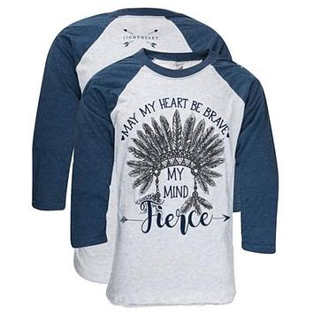 Southern Couture Lightheart Fierce Mind Feathers Girlie Raglan Long Sleeve Bright T Shirt