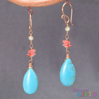 """Ivory freshwater pearls w/ pink coral, turquoise, 1-1/2"""" Earring Gold Or Silver"""