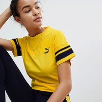 Puma Tipping Tee In Mustard at asos.com