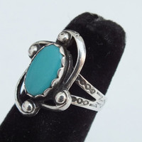 Turquoise and Sterling Silver Size 5 Statement Ring With Wavy Side Accents and Dots Precious Metal Ladies Jewelry Free Shipping and Gift Box