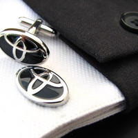 Car Cufflinks - Toyota cufflinks - Black Cufflinks - Metal cufflinks - Wedding gift for men - Mens cufflinks