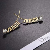 DIOR Fashion New Letter Diamond Retro Long Earring Accessories Golden