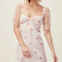 Autumn new mesh puff sleeve stitching sweet temperament small strawberry print dress