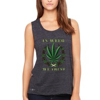 "Zexpa Apparelâ""¢ In Weed We Trust Women's Muscle Tee Dope Cannabis Legalize It Tanks"