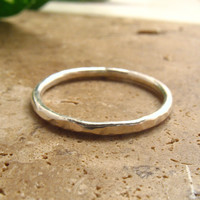 Hammered Silver Stacking Ring 14g