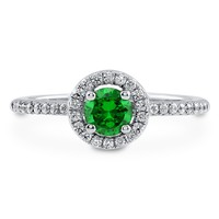 Sterling Silver Round Simulated Emerald CZ Halo Ring 0.63 ct.twBe the first to write a reviewSKU# R569-EM