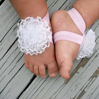 Baby Barefoot Sandals..White Lace Flower..Toddler Sandals..Newborn Sandals
