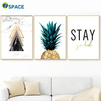 Abstract Marble Geometric Pineapple Quote Wall Art Canvas Painting Nordic Posters And Prints Wall Pictures For Living Room Decor