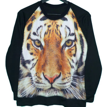 Bengal tiger shirt wildlife animal face prints pullover jumper sweater **animal tshirt ** long sleeve ** clothing size M L one size