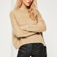 Missguided - Camel Fluffy Foiled High Neck Sweater