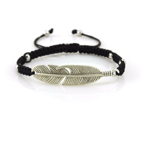 Silver Feather Braided Bracelet