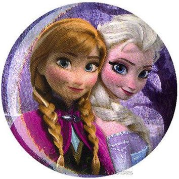 "Licensed cool NEW Disney Frozen Movie ELSA & ANNA 1 1/4"" Button Pin Back Pinback Lanyard Charm"