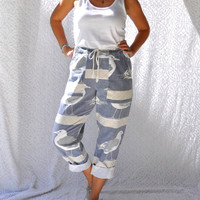 8os Michigan Rag Co Canvas Seagull Pants | High Rise Preppy Beach Pants. Retro Cruise Resort Wear. Drawstring Waist Summer Statement Pants