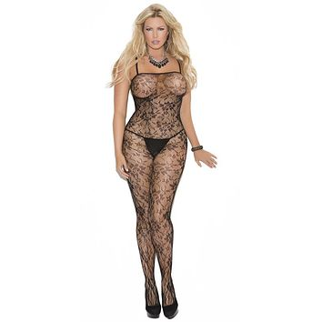 Sexy Plus Size Read Rose Floral Lace Bodystocking