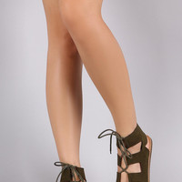 Bamboo Suede Open Toe Lace Up Gladiator Flat Sandal