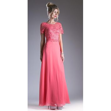 Coral Lace Bodice Short Sleeves A-line Long Bridesmaids Dress