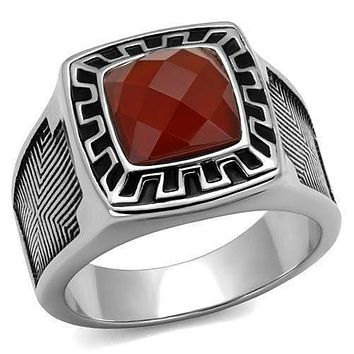 Mens Wedding Rings TK3007 Stainless Steel Ring with Semi-Precious in Siam