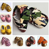 2016 new Leopard pu leather camouflage Baby Moccasins shoes toddler kids girl boy First Walker soft sole prewalker infant shoes