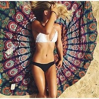 Fashion Retro Peacock Pattern Print Beach Towel Sunscreen Shawl Round Cushion