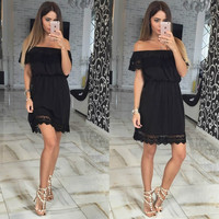 Off Shoulder Black Casual Dress with Lace Trim