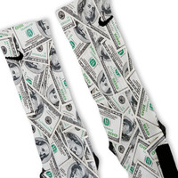 All Over $100 Bills Benjamins Custom Nike Elite Socks