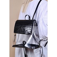 Caramela Clear Croc Backpack - Black