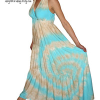 Tie Dye Maxi Dress ((The Boho Hippie Dress - you choose colors and size- made to order IN THE USA)
