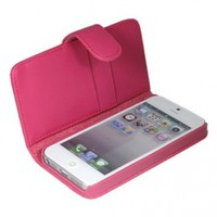 ASleek Hot Pink PU Leather Flip Wallet Case Cover ID Holder for Apple iPhone 5