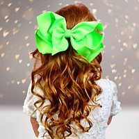 Girls 8 Inch Wide Basic Hair Bow on Alligator Clip