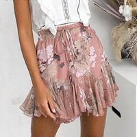 Bohemian print skirts womens Ruffle pleated floral short boho skirt female High waist chiffon beach mini skirt