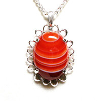 "Banded agate, striped agate pendant, orange white, cabochon pendant, cabochon jewelry, orange necklace, ""Stripe up the Band"""