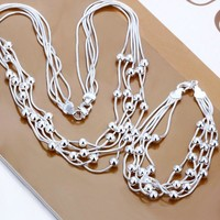 925 Silver Plated Beads Necklace & Bracelet Sets