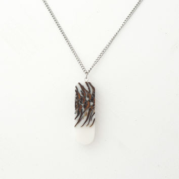 Double sided bioresin and pinecone necklace