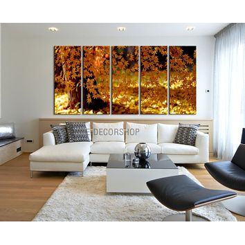 Large Wall Art Canvas Print Autumn Tree 5 Panel Framed Streched Autumn Landscape Leaves