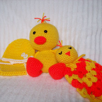 Crochet Stuffed Animal Duckling Plush and Duckling Baby Lovie Blanket, Lovey Blanket, Security Blanket, and Diaper Cover Set (Made to Order)