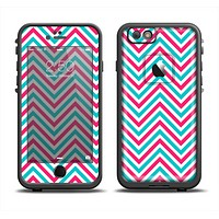 The Blue & Pink Sharp Chevron Pattern Apple iPhone 6 LifeProof Fre Case Skin Set