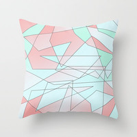 Mint & Coral Geometric Throw Pillow by daniellebourland