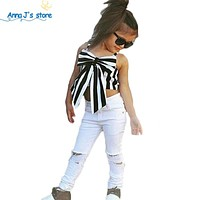 Girls Clothing Sets Children Girls Clothing Sets Kids Strapless Striped top + pants Suit Clothes