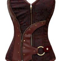 Deep Red Zip Cabaret Punk Corset