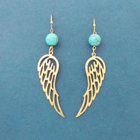 Turquoise, Angel wing, Gold, Silver, Earrings, Birthday, Best friends, Sister, Gift, Jewelry
