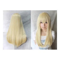 Wonderland Long 60cm Blonde Straight Synthetic Cosplay Wig   golden white