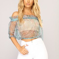 Love Is Uncovered Floral Top - Teal