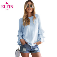 Women Tops And Blouses 2017 New Fashion Elegant Blusas  Ruffles Sleeve Soild Ladies Tops Femininas Shirt Women Clothing LJ5463R
