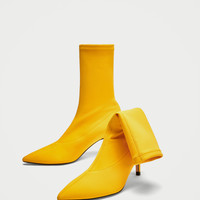 FABRIC HIGH HEEL ANKLE BOOTS DETAILS