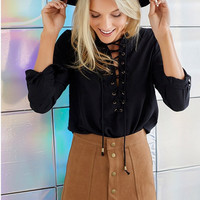 Faux Suede Buttoned Front Skirt [6240900996]