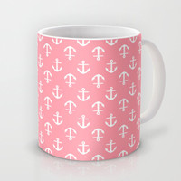 Pink Anchors Pattern Mug by heartlocked