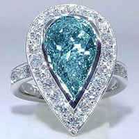 Sparkling 6.01 carats blue pear diamond anniversary ring white gold 14K new