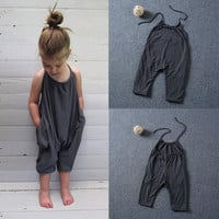 2016 Toddler Kids Baby Girls Overalls Casual Romper Jumpsuit Fashion Trousers Clothes Girl 2-8Y
